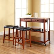 """Crosley Natural Wood Top Kitchen Cart/Island in Classic Cherry Finish With 24"""" Cherry Upholstered Saddle Stools (KF300514CH)"""