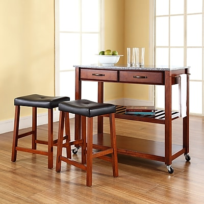 Crosley Solid Granite Top Kitchen Cart/Island in Classic Cherry Finish With 24