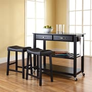 "Crosley Solid Black Granite Top Kitchen Cart/Island in Black Finish With 24"" Black Upholstered Saddle Stools (KF300544BK)"