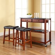 """Solid Black Granite Top Kitchen Cart/Island in Classic Cherry Finish With 24"""" Cherry Upholstered Saddle Stools"""