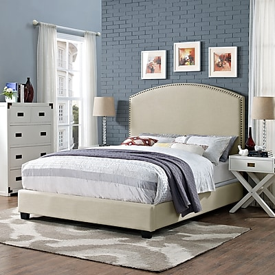 Crosley Cassie Curved Upholstered King Bedset In Creme Linen (KF706008CR)
