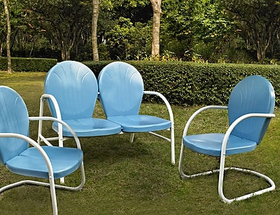 Crosley Griffith 3 Piece Metal Outdoor Conversation Seating Set - Loveseat & 2 Chairs In Sky Blue Finish (KO10002BL)