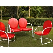Crosley Griffith 3 Piece Metal Outdoor Conversation Seating Set - Loveseat & 2 Chairs In Red Finish (KO10002RE)