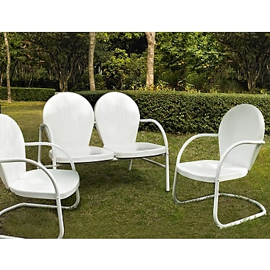 Crosley Griffith 3 Piece Metal Outdoor Conversation Seating Set - Loveseat & 2 Chairs In White Finish (KO10002WH)