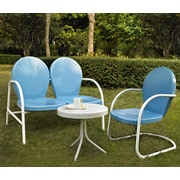 Griffith 3 Piece Metal Outdoor Conversation Seating Set - Loveseat & Chair In Sky Blue Finish With Side Table In White Finish