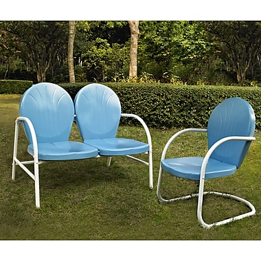 Crosley Griffith 2 Piece Metal Outdoor Conversation Seating Set - Loveseat & Chair In Sky Blue Finish (KO10005BL)