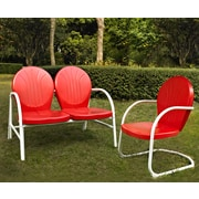 Crosley Griffith 2 Piece Metal Outdoor Conversation Seating Set - Loveseat & Chair In Red Finish (KO10005RE)