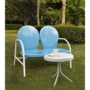 Crosley Griffith 2 Piece Metal Outdoor Conversation Seating Set - Loveseat & Table In Sky Blue Finish (KO10006BL)