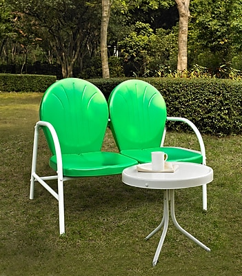 Crosley Griffith 2 Piece Metal Outdoor Conversation Seating Set - Loveseat & Table In Grasshopper Green Finish (KO10006GR)