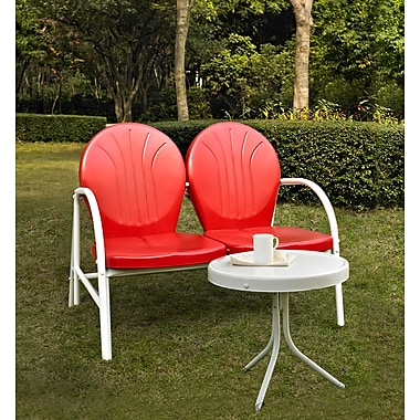 Crosley Griffith 2 Piece Metal Outdoor Conversation Seating Set - Loveseat & Table In Red Finish (KO10006RE)