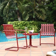 Crosley Gracie 3 Piece Metal Outdoor Conversation Seating Set - 2 Chairs And Side Table In Coral Red (KO10007RE)