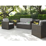 Crosley Palm Harbor 3 Piece Outdoor Wicker Seating Set With Grey Cushions - Loveseat & Two Outdoor Chairs (KO70003BR-GY)
