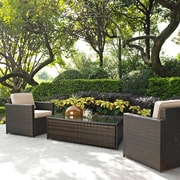 Palm Harbor 3 Piece Outdoor Wicker Seating Set With Sand Cushions - Two Outdoor Wicker Chairs & Glass Top Table