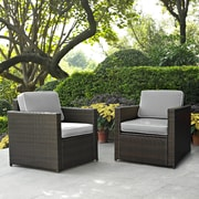 Crosley Palm Harbor 2 Piece Outdoor Wicker Seating Set With Grey Cushions -  Two Outdoor Wicker Chairs (KO70005BR-GY)
