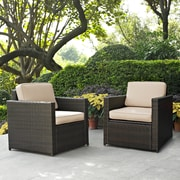 Crosley Palm Harbor 2 Piece Outdoor Wicker Seating Set With Sand Cushions -  Two Outdoor Wicker Chairs (KO70005BR-SA)