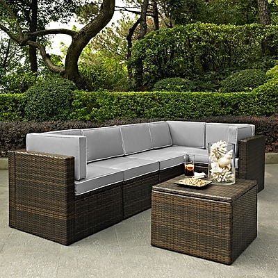 Crosley Palm Harbor 6 Piece Outdoor Wicker Seating Set With Grey Cushions (KO70007BR-GY)