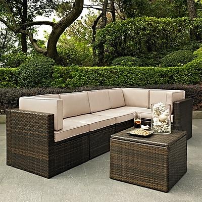 Crosley Palm Harbor 6 Piece Outdoor Wicker Seating Set With Sand Cushions (KO70007BR-SA)