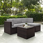 Crosley Palm Harbor 5 Piece Outdoor Wicker Seating Set With Grey Cushions (KO70011BR-GY)