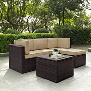Crosley Palm Harbor 5 Piece Outdoor Wicker Seating Set With Sand Cushions (KO70011BR-SA)