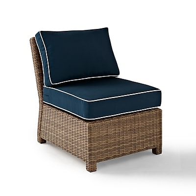 Crosley Bradenton Outdoor Wicker Sectional Center Chair With Navy Cushions (KO70017WB-NV)