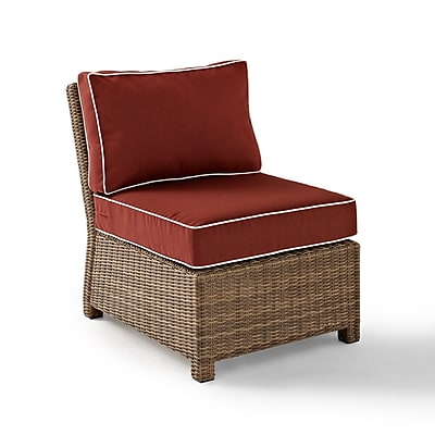 Crosley Bradenton Outdoor Wicker Sectional Center Chair With Sangria Cushions (KO70017WB-SG)