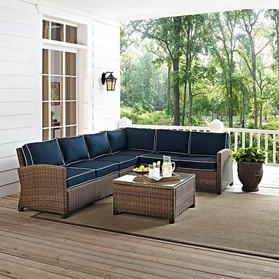 Crosley Bradenton 5-Piece Outdoor Wicker Seating Set With Navy Cushions (KO70020WB-NV)