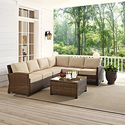 Crosley Bradenton 5-Piece Outdoor Wicker Seating Set With Sand Cushions (KO70020WB-SA)