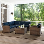 Crosley Bradenton 5-Piece Outdoor Wicker Seating Set With Navy Cushions (KO70021WB-NV)