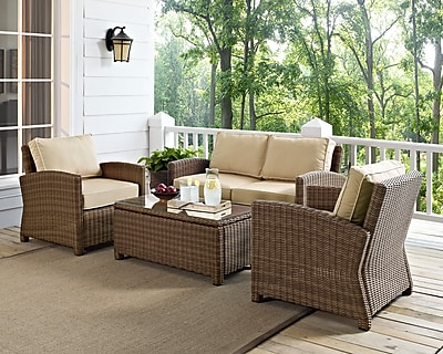 Bradenton 4 Piece Outdoor Wicker Seating Set With Sand Cushions - Loveseat, Two Arm Chairs & Glass Top Table 24273187