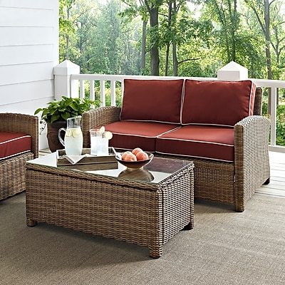 Crosley Bradenton 2 Piece Outdoor Wicker Seating Set With Sangria Cushions - Loveseat & Glass Top Table (KO70025WB-SG)