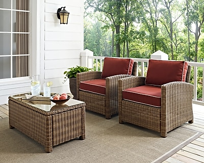 Crosley Bradenton 2 Piece Outdoor Wicker Seating Set With Sangria Cushions - Two Arm Chairs (KO70026WB-SG)