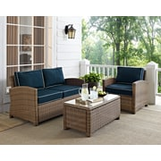 Crosley Bradenton 3 Piece Outdoor Wicker Seating Set With Navy Cushions - Loveseat, Arm Chair & Glass Top Table (KO70027WB-NV)