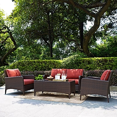 Crosley Kiawah 4 Piece Outdoor Wicker Seating Set With Sangria Cushions - Loveseat, Two Arm Chairs & Glass Top Table (KO70028BR) 24273023