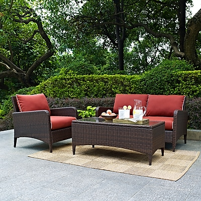 Crosley Kiawah 3 Piece Outdoor Wicker Seating Set With Sangria Cushions - Loveseat, Arm Chair & Glass Top Table (KO70031BR) 24273029