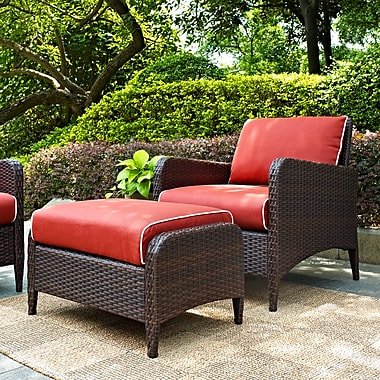 Crosley Kiawah 2 Piece Outdoor Wicker Seating Set With Sangria Cushions - Arm Chair With Ottoman (KO70032BR)
