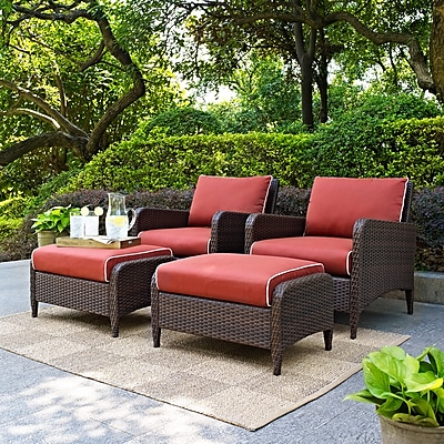 Crosley Kiawah 4 Piece Outdoor Wicker Seating Set With Sangria Cushions - Two Arm Chairs With Two Ottomans (KO70033BR)