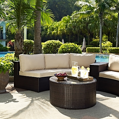 Catalina 2 Piece Outdoor Wicker Seating Set With Sand Cushions - Round Sectional Sofa With Round Glass Top Coffee Table 24273037