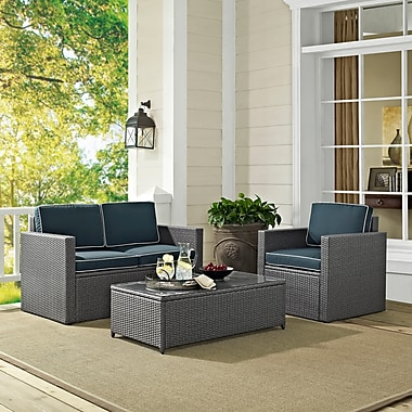 Palm Harbor 3 Piece Outdoor Wicker Seating Set In Grey Wicker With Navy Cushions: Loveseat, Coffee Table, And 1 Arm Chair