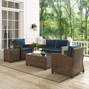 Bradenton 5-Piece Outdoor Wicker Conversation Set With Navy Cushions - Loveseat, Two Arm Chairs, Side Table & Glass Top Table
