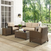 Bradenton 5-Piece Outdoor Wicker Conversation Set With Sand Cushions - Loveseat, Two Arm Chairs, Side Table & Glass Top Table