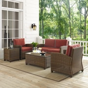 Bradenton 5-Piece Outdoor Wicker Conversation Set With Sangria Cushions - Loveseat, Two Arm Chairs, Side Table & Glass Top Table