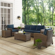 Bradenton 5-Piece Outdoor Wicker Sofa Conversation Set With Navy Cushions - Sofa, Two Arm Chairs, Side Table & Glass Top Table