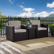 Crosley Palm Harbor 3-Piece Outdoor Wicker Conversation Set With Grey Cushions -- Two Swivel Chairs & Side Table (KO70058BR-GY)