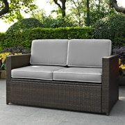 Crosley Palm Harbor Outdoor Wicker Loveseat In Brown With Grey Cushions (KO70092BR-GY)