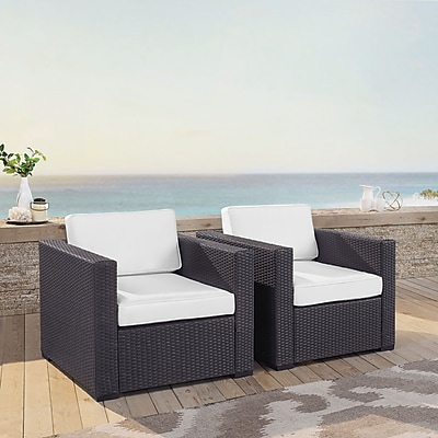Crosley Biscayne 2 Person Outdoor Wicker Seating Set In White - Two Outdoor Wicker Chairs (KO70103BR-WH)
