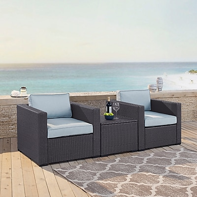 Crosley Biscayne 2 Person Outdoor Wicker Seating Set In Mist - Two Outdoor Wicker Chairs & Coffee Table (KO70104BR-MI)
