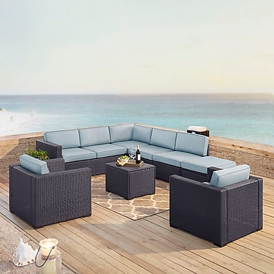 Biscayne 8 Person Outdoor Wicker Seating Set In Mist - Two Loveseats, Two Arm Chairs, One Armless Chair, Coffee Table, Ottoman