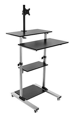 Mount-It! Mobile Stand Up Desk With Monitor Arm Mount, Black (MI-7942BLK)