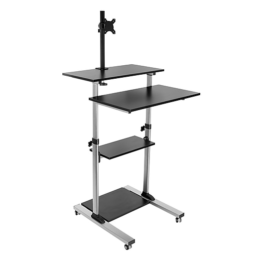 the latest c328e 51659 Mount-It! Rolling Sit-Stand Computer Workstation, Height Adjustable  Stand-Up Mobile Presentation Cart, BLACK (MI-7942-BLK)