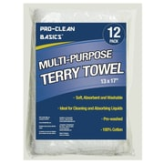 "Pro-Clean Basics Multi-Purpose Terry Towels, 14"" x 17"", Light Weight, 12-Pack, White (A51745)"